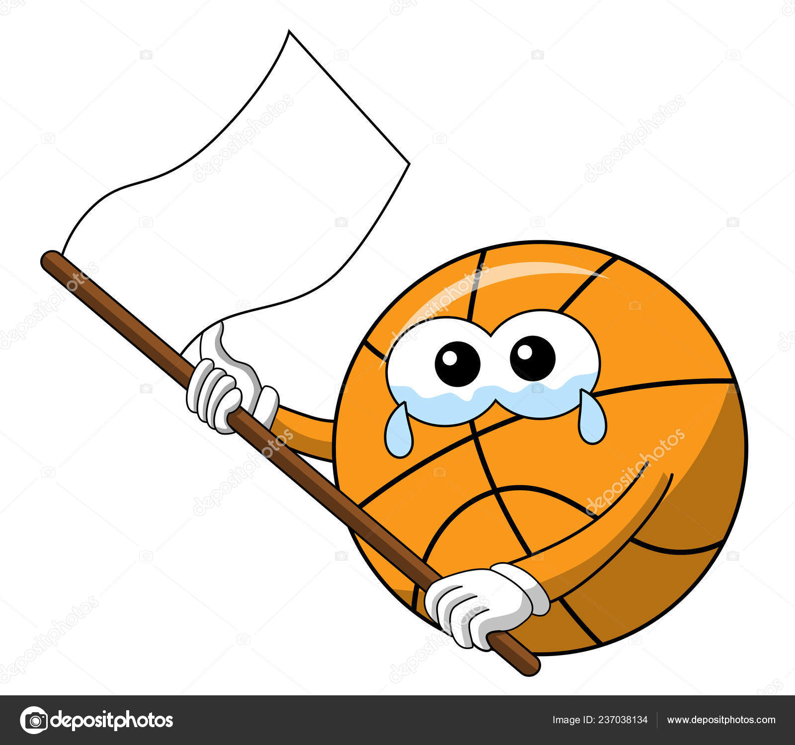 Images Funny White Flag Basketball Ball Cartoon Funny Character Crying White Flag Waving Sad Stock Vector C Canbedone 237038134