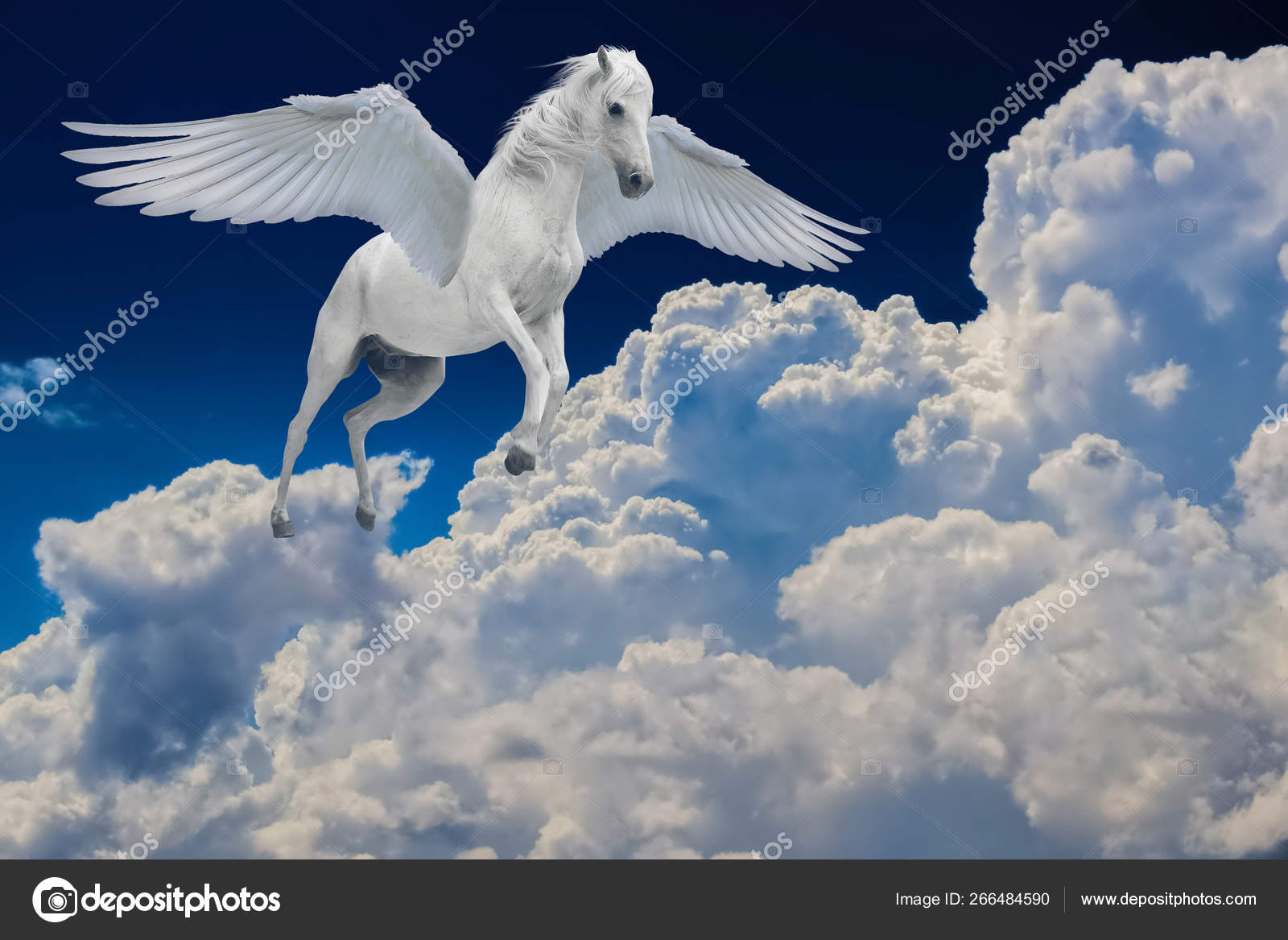 Pegasus Winged Legendary White Horse Flying With Spread Wings In Cloudy Sky Stock Photo C Canbedone 266484590