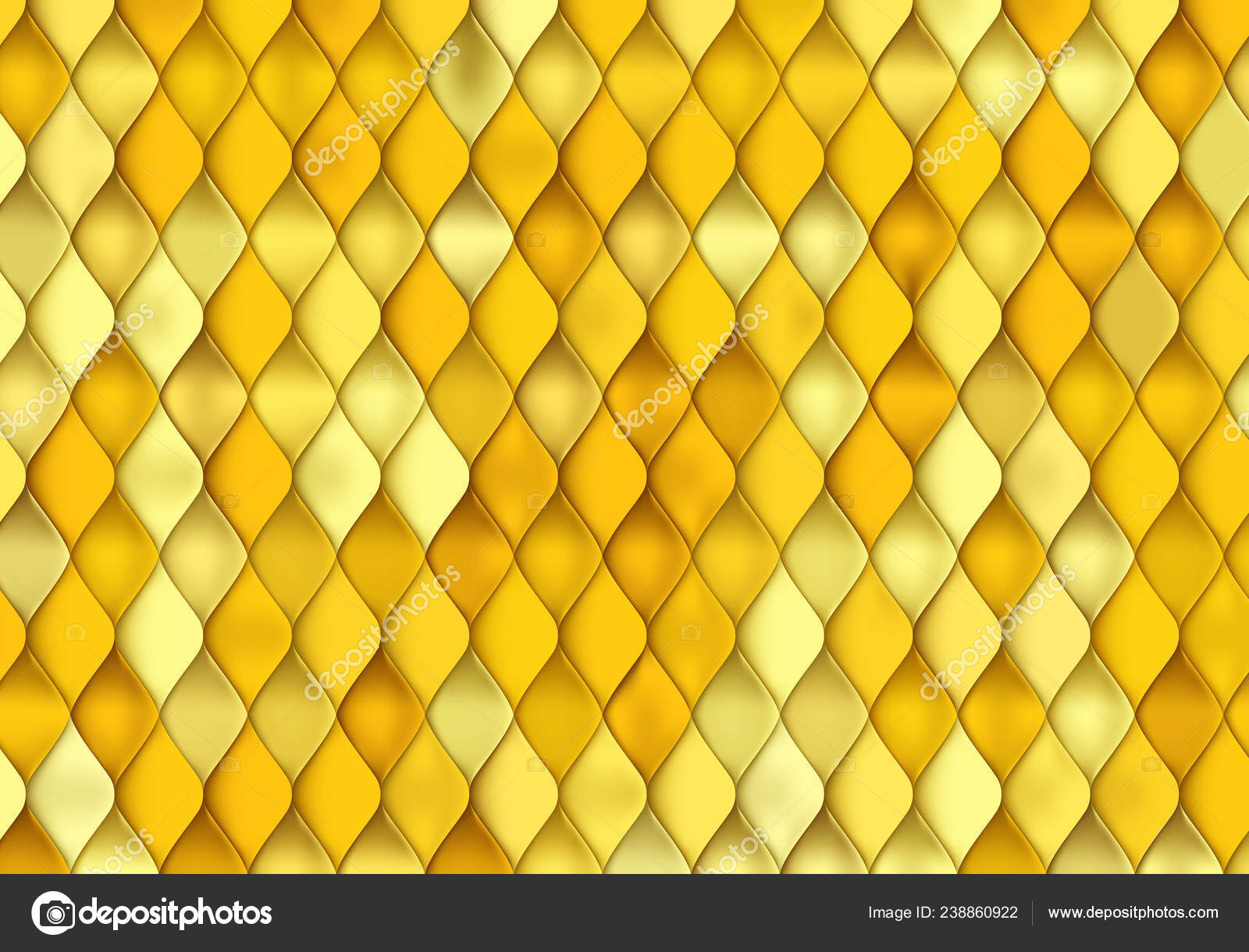Gold Fish Scale Texture  Vector Golden Background with