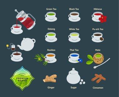 Vector Set of Illustrations of Different Varieties of Tea