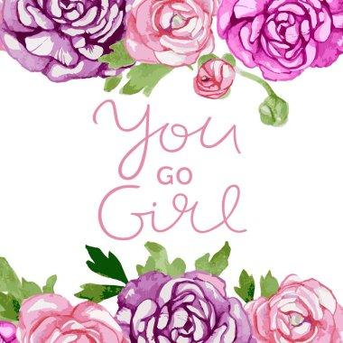"""Картина, постер, плакат, фотообои """"с акварельными розами. you go girl inspiration ."""", артикул 250744120"""