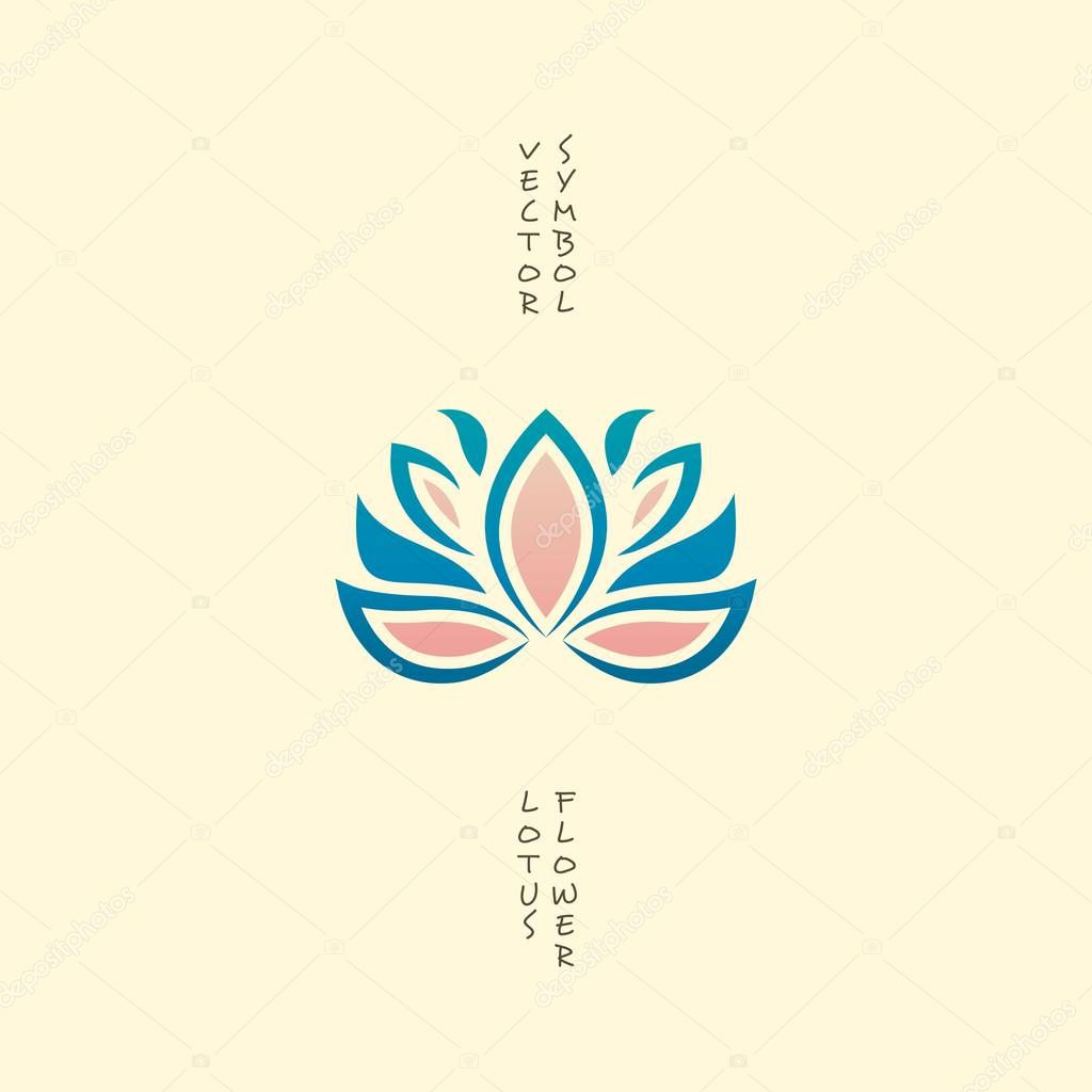 Lotus Flower Icon. Vector Floral Logo. Oriental Indian Symbol Isolated on White. Concept for Spa, Yoga or Massage