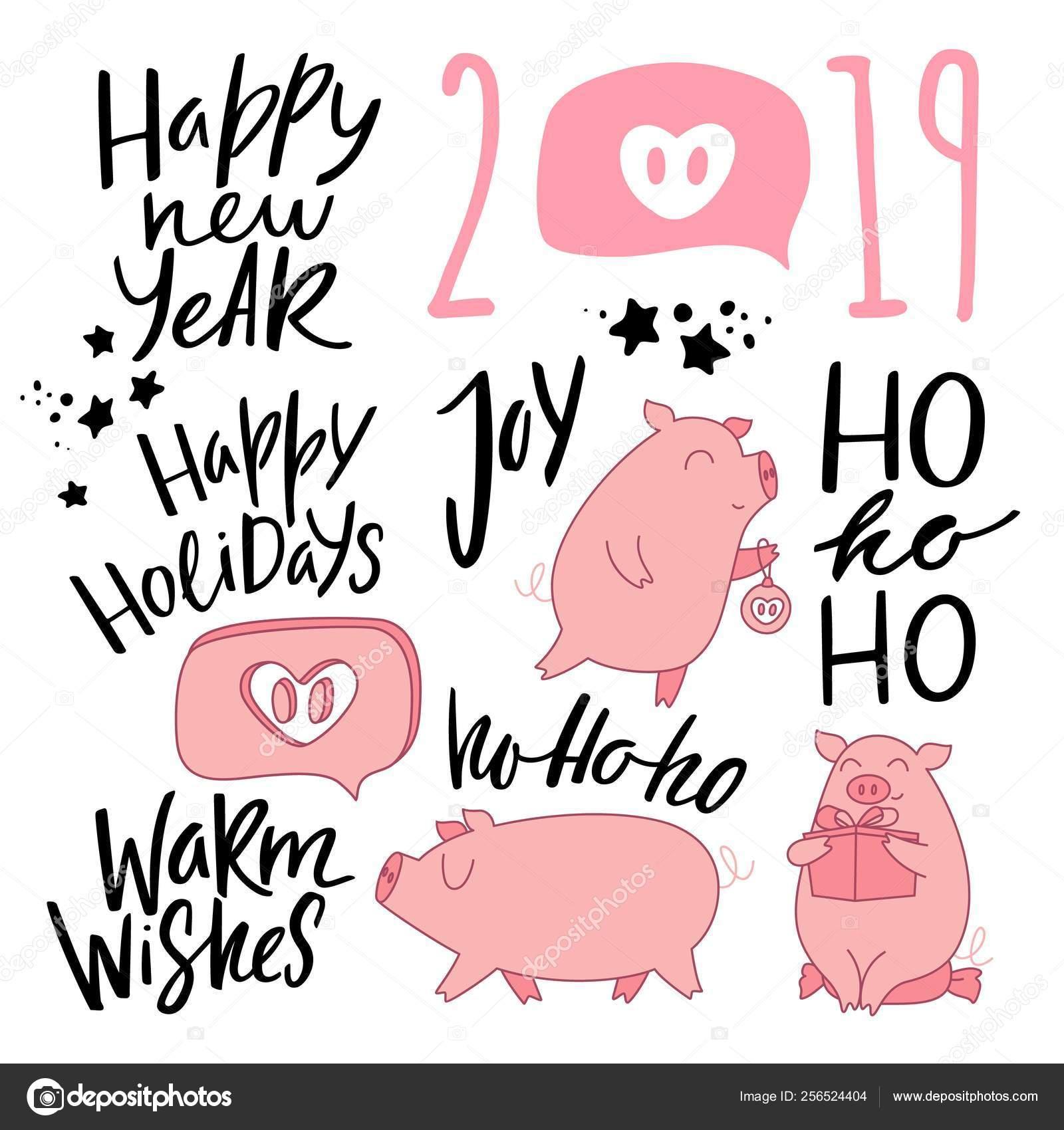 Bonita Ilustración De Los Cerdos De Dibujos Animados Y