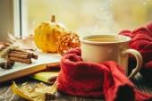Podzimní čaj s šátkem a listy před okna