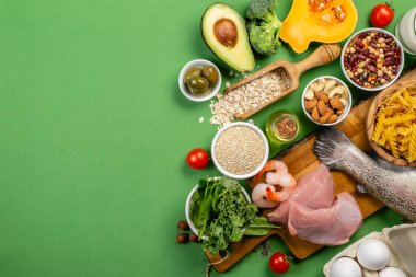 Mediterranean diet concept - meat, fish, fruits and vegetables