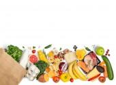 Bevásárlás koncepció - élelmiszerek bevásárló táska