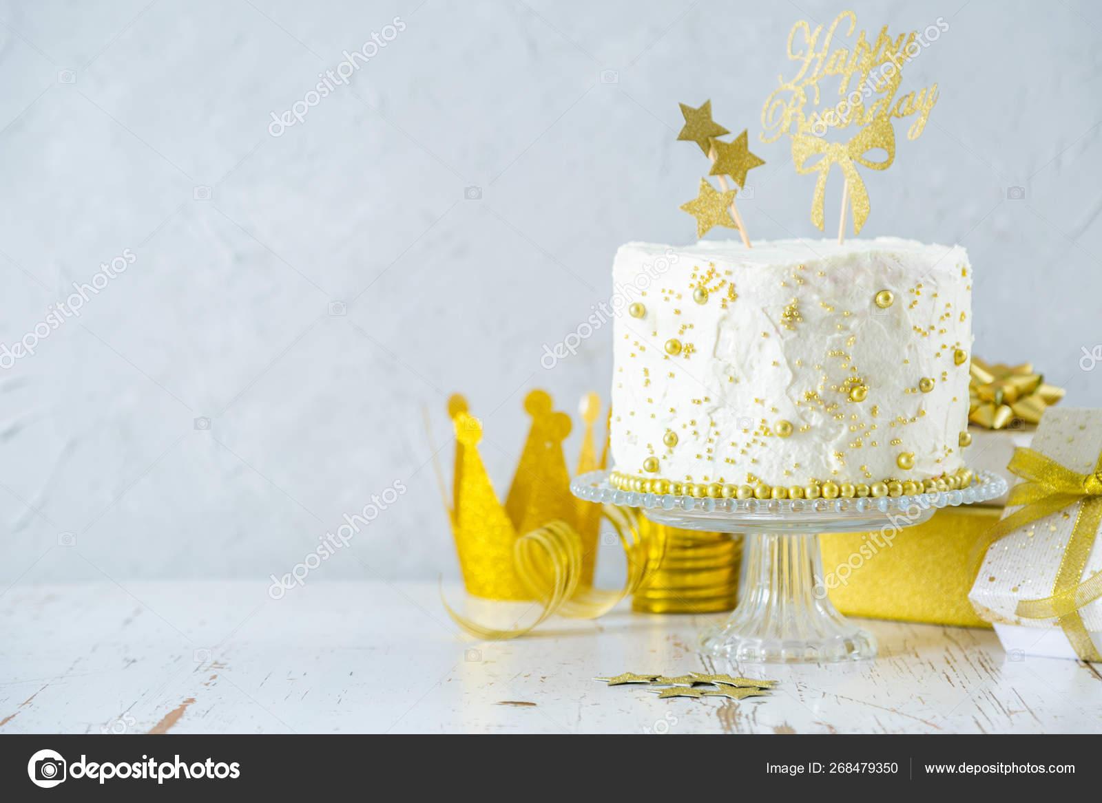 Super Golden Birthday Concept Cake Presents Decorations Stock Funny Birthday Cards Online Sheoxdamsfinfo