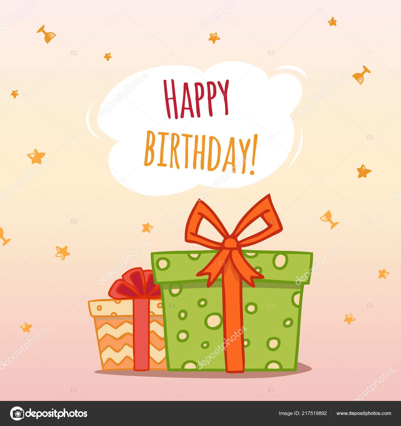 Happy Birthday Vector Illustration Gift Boxes Stock Vector