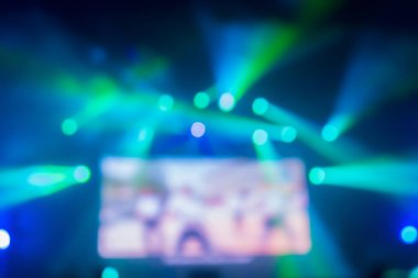blurred background of night bokeh light stage of rock concert