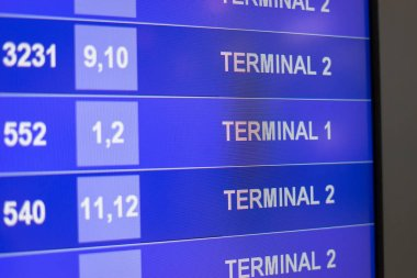 Arrival Departure Board showing departing flights in airport