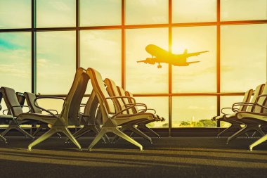 Passenger seats in departure lounge and plane in airport stock vector