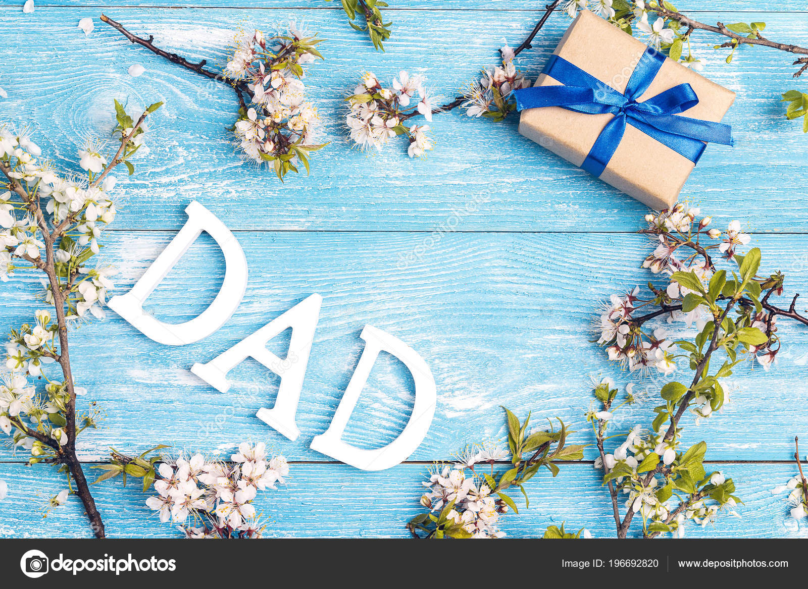 fathers day message apple blossoms gift box blue wooden background stock photo