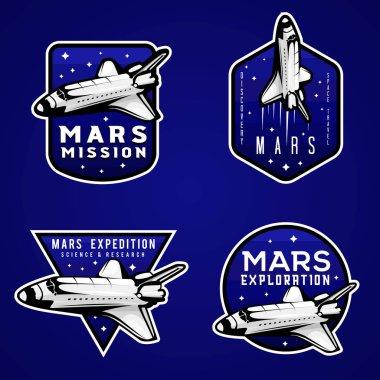 Mars mission blue logos, set of Mars themed labels