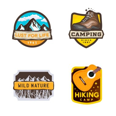 Vector camping logos in modern style, hiking badge with inspirational slogan
