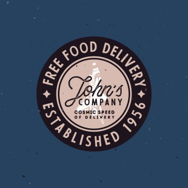 Food delivery vintage badge, old-fashioned vector illustration