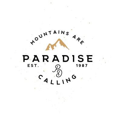 Apparel labels, clothing labels. Outdoor travel themed vintage badges.