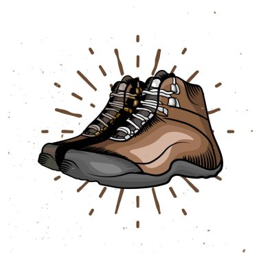 Vector cartoon hiking shoes. Trekking boots with sunburst on the background.