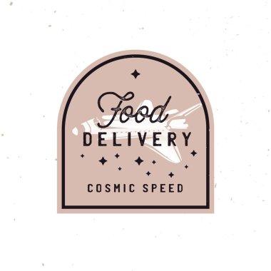 Transportation badge concept in vintage style, fast food delivery