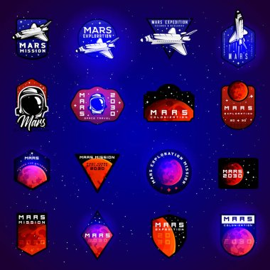 Space mission to Mars vector emblems concept with space shuttle