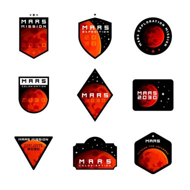 Set of Space mission to Mars vector logos