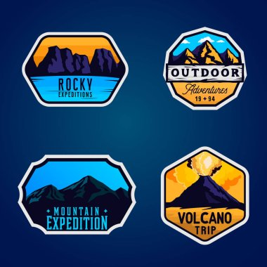 Mountain logotypes, stickers, badges. Outdoor themed labels
