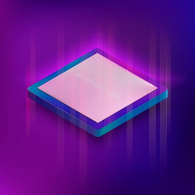 Isometric neon styled illustration of computer microprocessor.