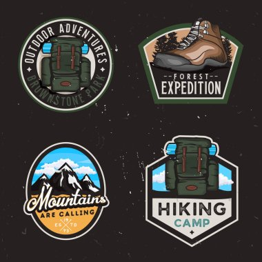 Travel badges and stickers with hike themed design elemets