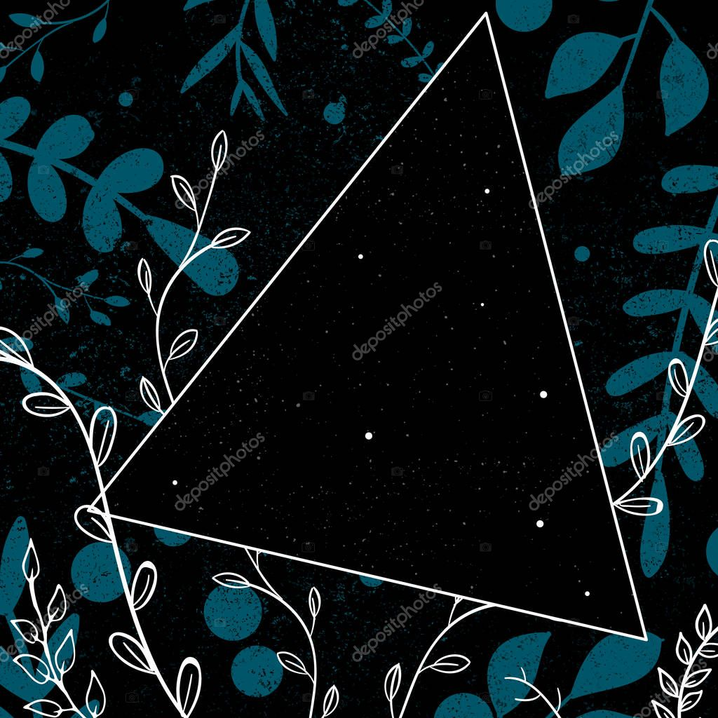 Abstract floral frame design vector illustration for album cover with stars in triangle and blue branches over dark grunge background