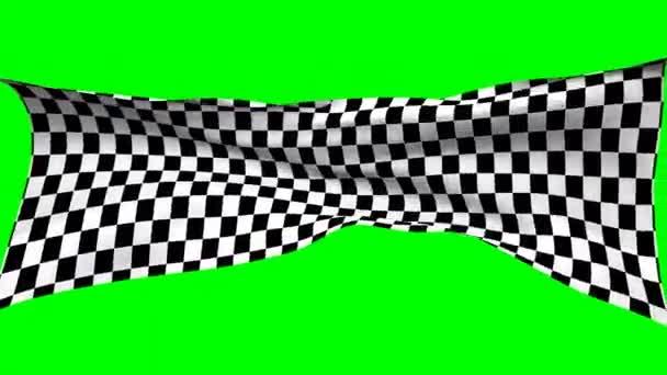 dynamische Flagge, schwarz-weiße Rennsteine auf alpha-grünem Bildschirmhintergrund