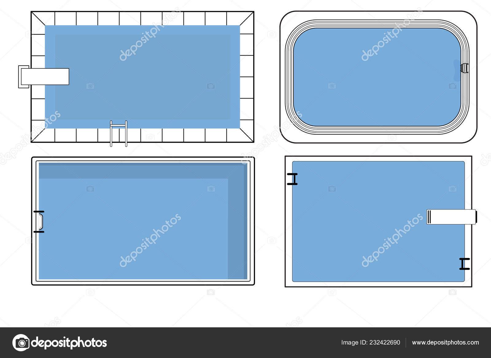 Swimming pool drawing | Set Swimming Pool Plans Top View ...