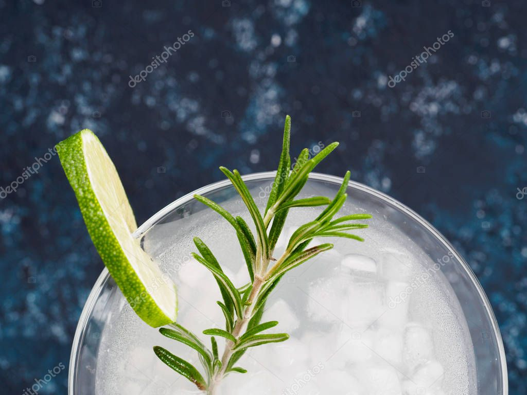 Glass of Martini coctail with fresh rosemary and lime on blue background.