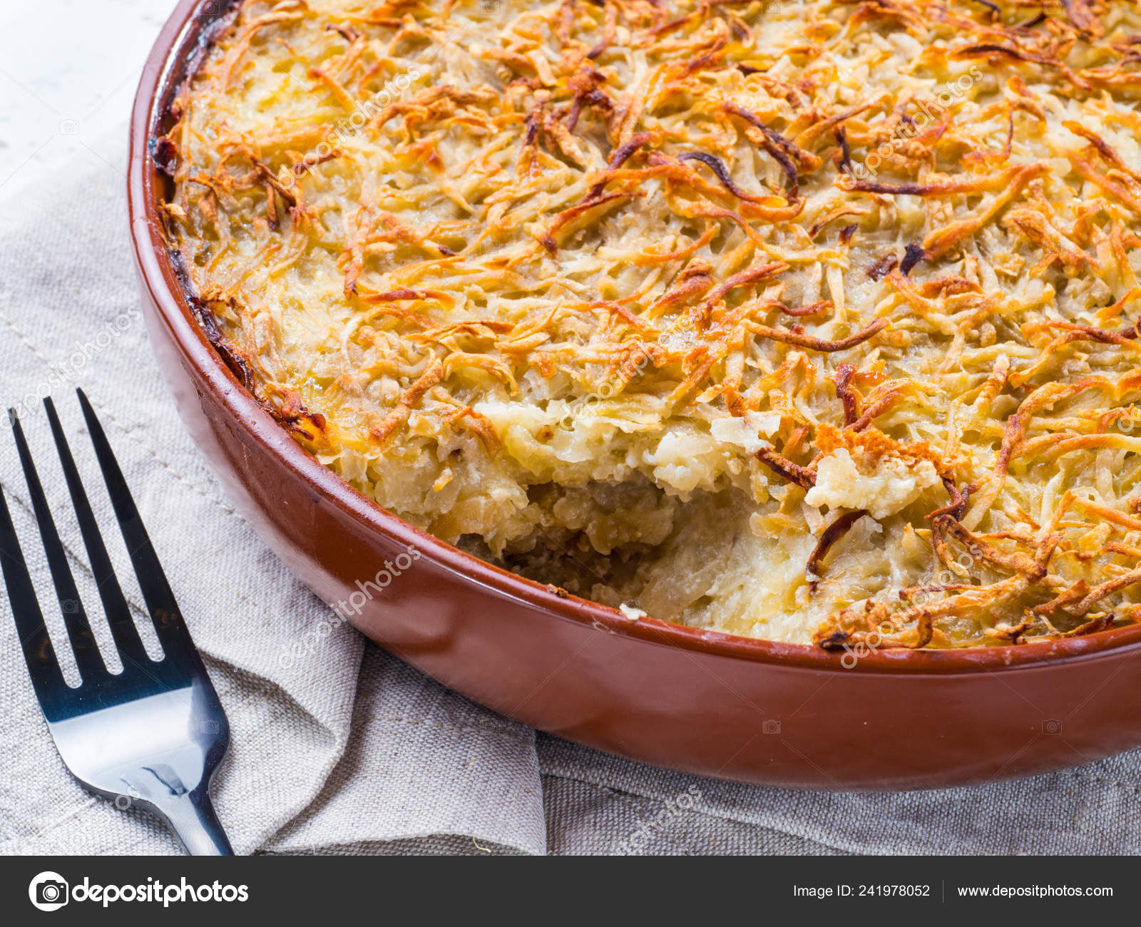 Close View Appetizing Potato Casserole Fish Eggs Cream