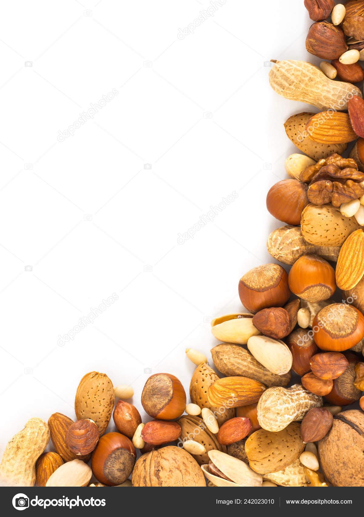 Background Mixed Nuts Hazelnuts Almonds Walnuts Pistachios