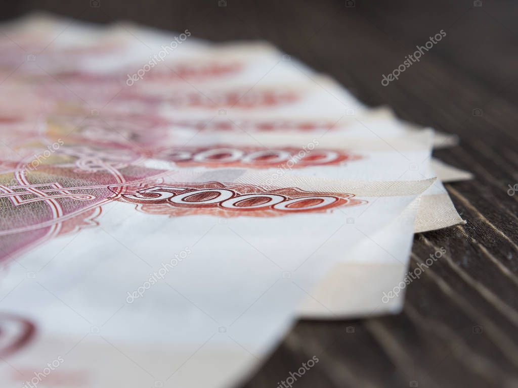 Russian ruble banknotes closeup