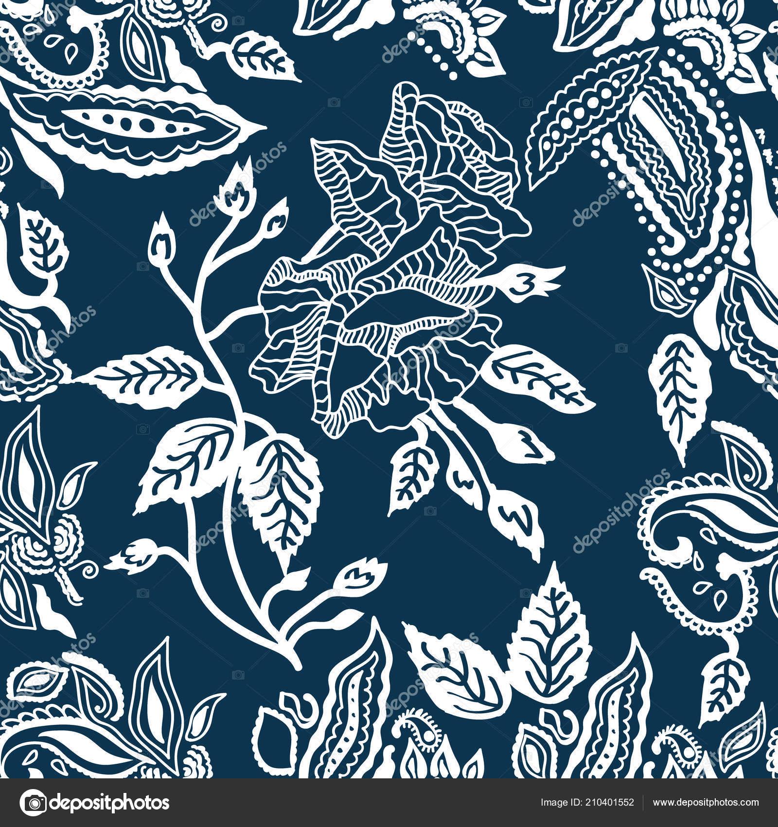 b1de1cecc376 Estampa floral azul e branca. — Vetores de Stock © SvetlanaKononova ...