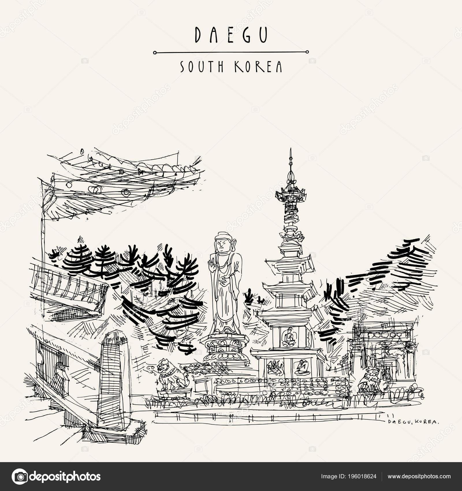 daegu coreia sul grande estátua buda templo donghwasa mão desenho