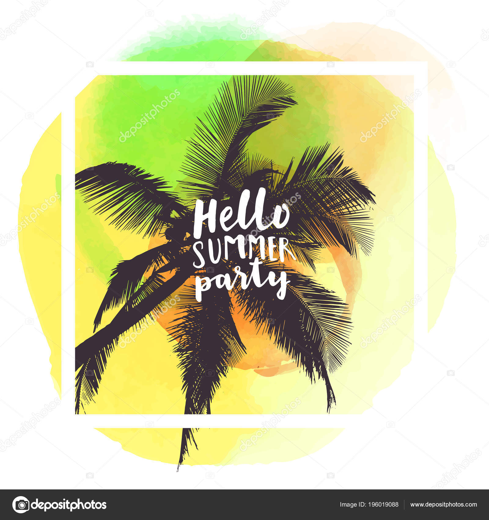 382ae6b4337b Hello Summer Party Modern Calligraphic Shirt Design Flat Palm Trees — Stock  Vector
