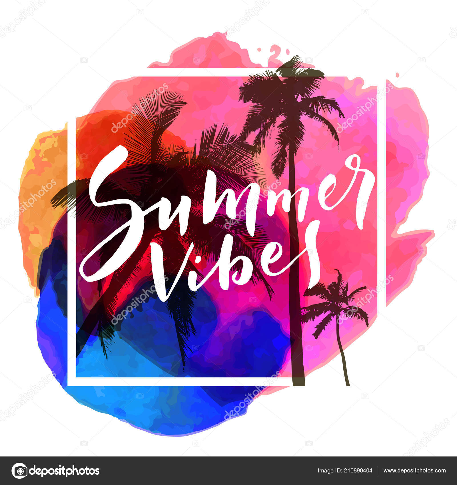 Sunsets and palm trees quotes | Summer Vibes Calligraphic ...