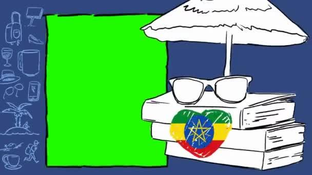 Ethiopia hand drawn tourism
