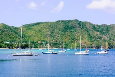 Boats and yachts in marina next to Bequia island in Saint Vincent and the Grenadines