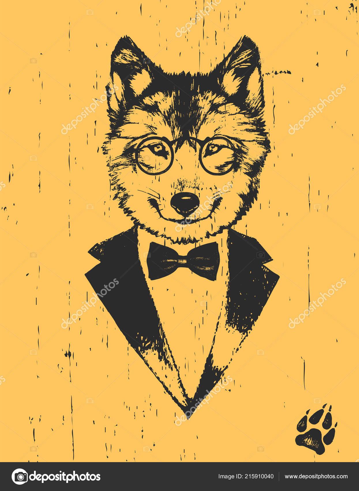 Lobo Com Óculos Smoking Com Laço Fundo Amarelo — Vetores de Stock ... 89d9437ee3
