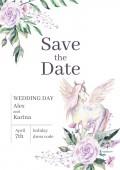 Fotografie Akvarelu pozvání kartu šablona pro svatbu či Romantický design. Květinové kompozice a roztomilý pony pegasus. Ručně kreslené ilustrace