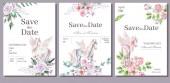 Akvarelu pozvání kartu šablona pro svatbu či Romantický design. Květinové kompozice a roztomilý pony pegasus. Ručně kreslené ilustrace
