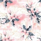 Varrat nélküli mintát a virágok és levelek. Rózsaszín magnólia virág