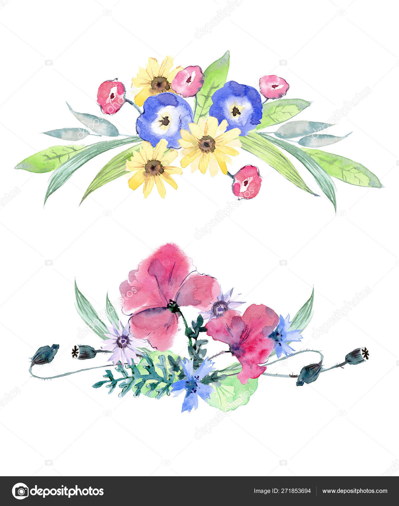 Watercolor Wildflowers Bouquet Pansies Calendula Cornflowers Poppies Daisies Greenery Horizontal Stock Photo C Dinkoobraz 271853694