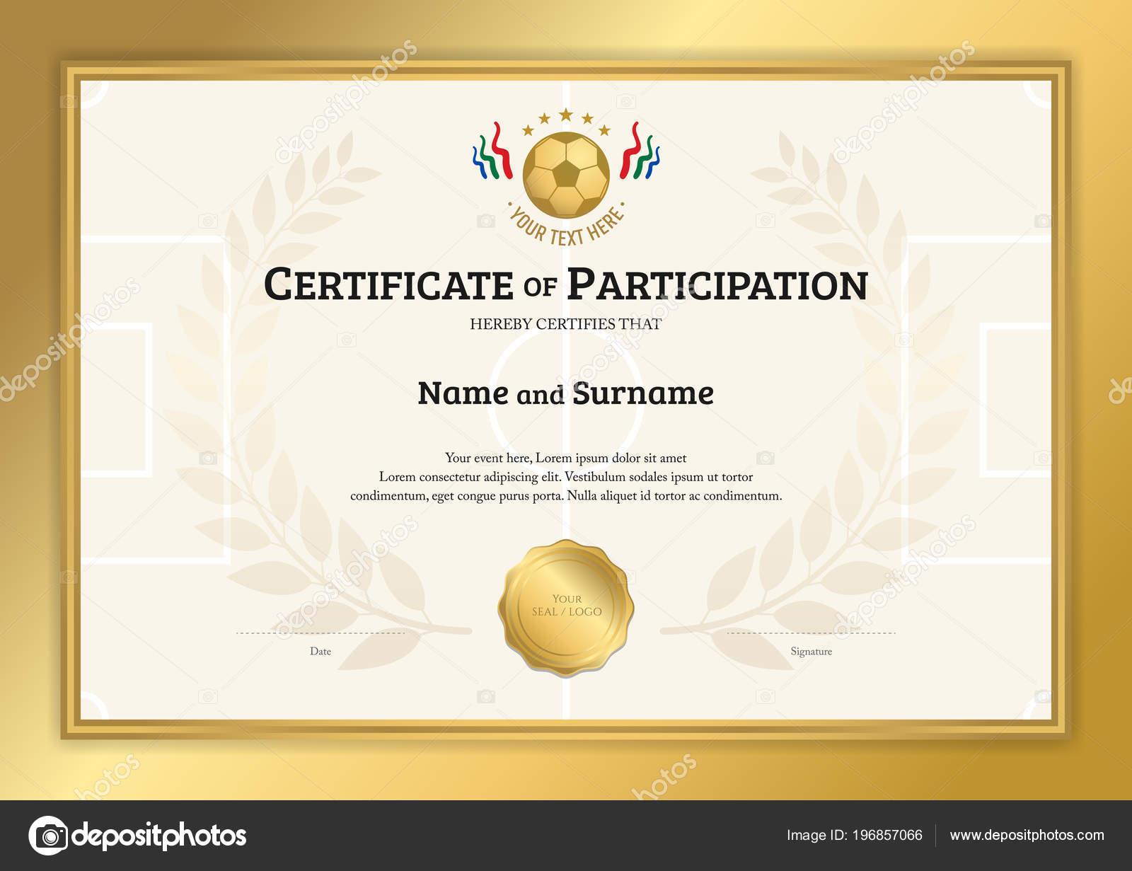 Zertifikat Vorlage Fußball Sport Thema Mit Gold Rahmen Diplom Design ...