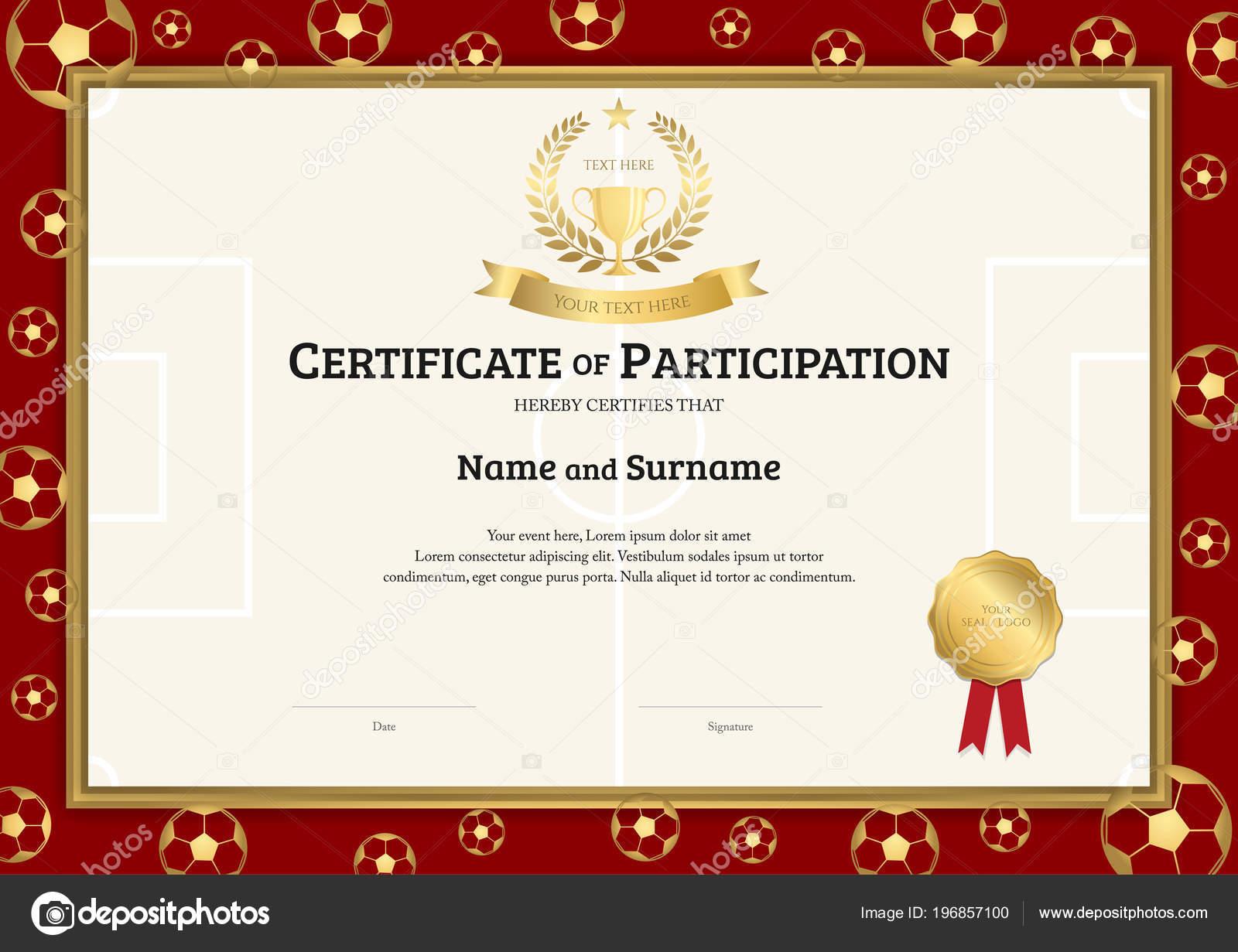 Certificate Template Football Sport Theme Soccer Border Frame