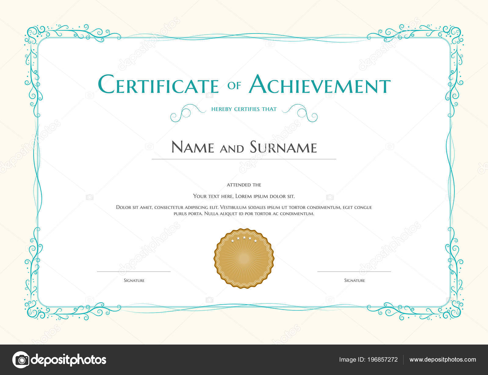 Plantilla Certificado Lujo Con Elegante Borde Marco Diseño Diploma ...