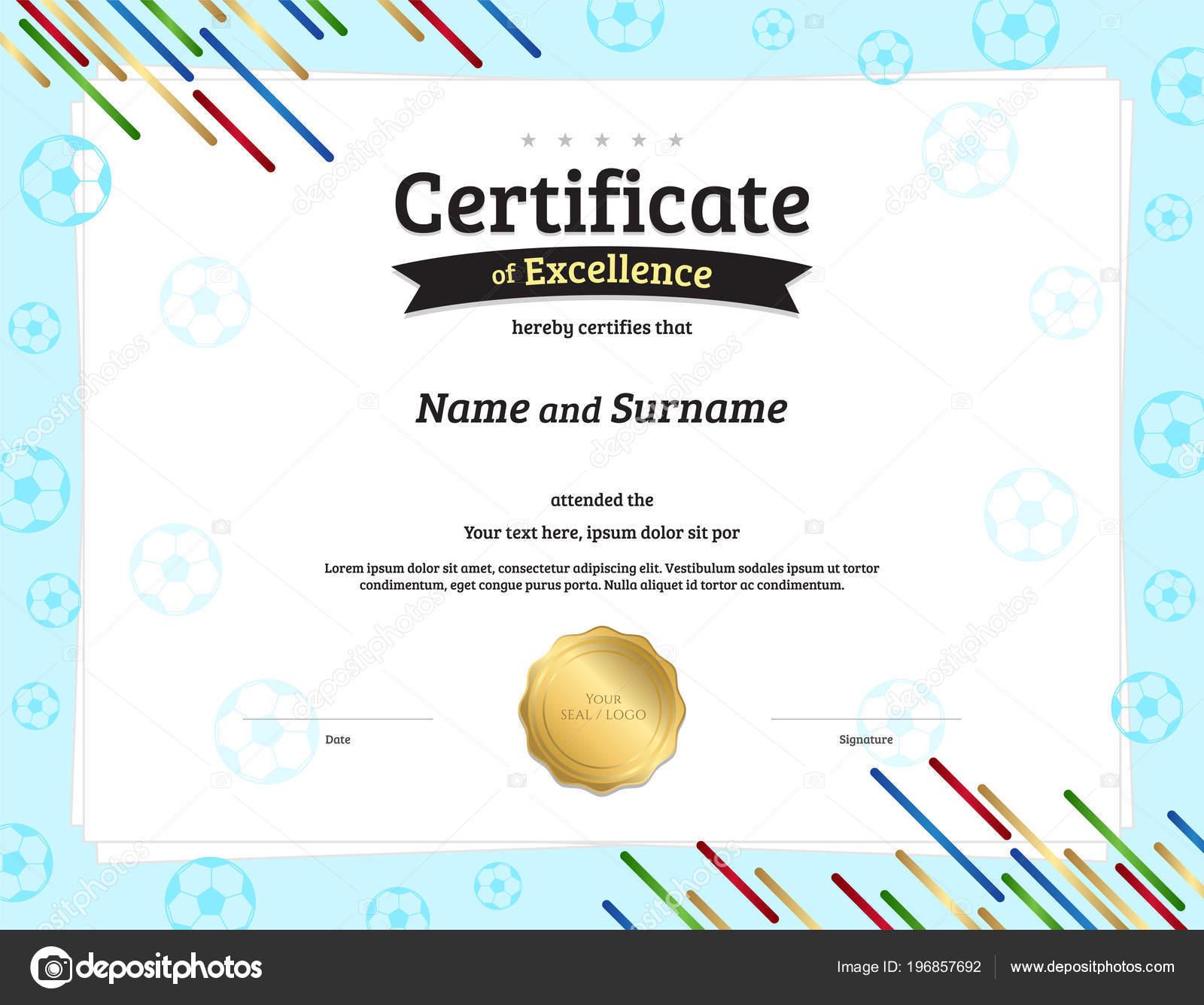 certificate template football sport theme ball border frame diploma