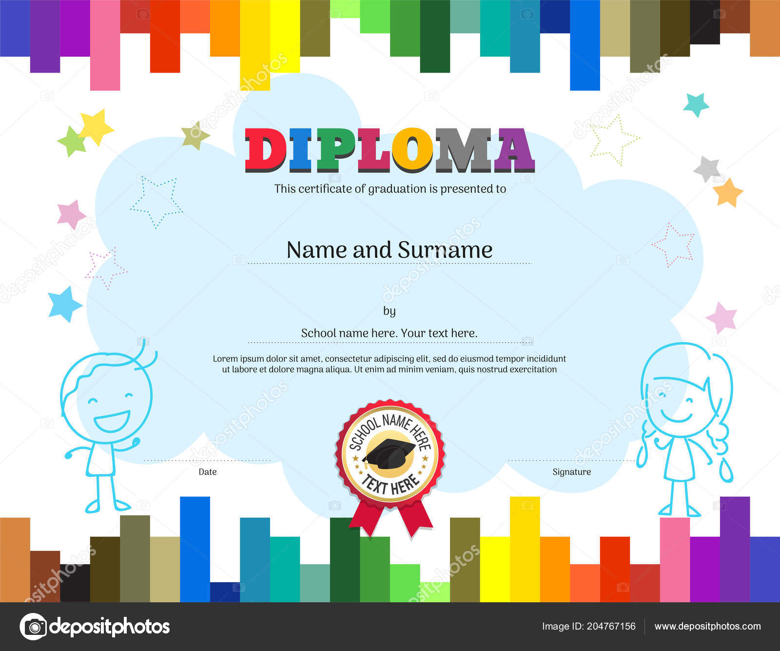 Kids Diploma Certificate Template Colorful Stripe Background Stock